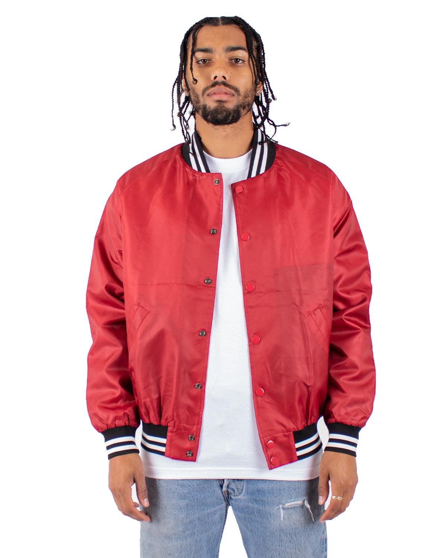 Shaka Wear Drop Ship Men's Varsity Bomber Jacket RED