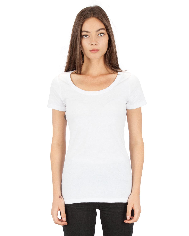 Simplex Apparel Drop Ship Ladies' CVC Scoop T-Shirt WHITE