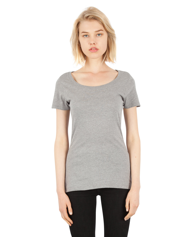 Simplex Apparel Drop Ship Ladies' CVC Scoop T-Shirt DRK HTHR GREY