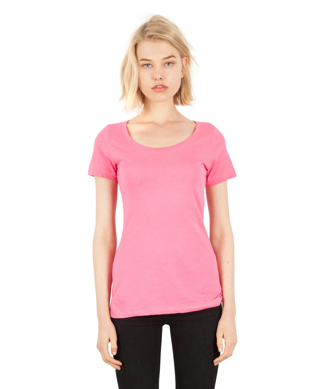 Simplex Apparel Drop Ship Ladies' CVC Scoop T-Shirt HOT PINK