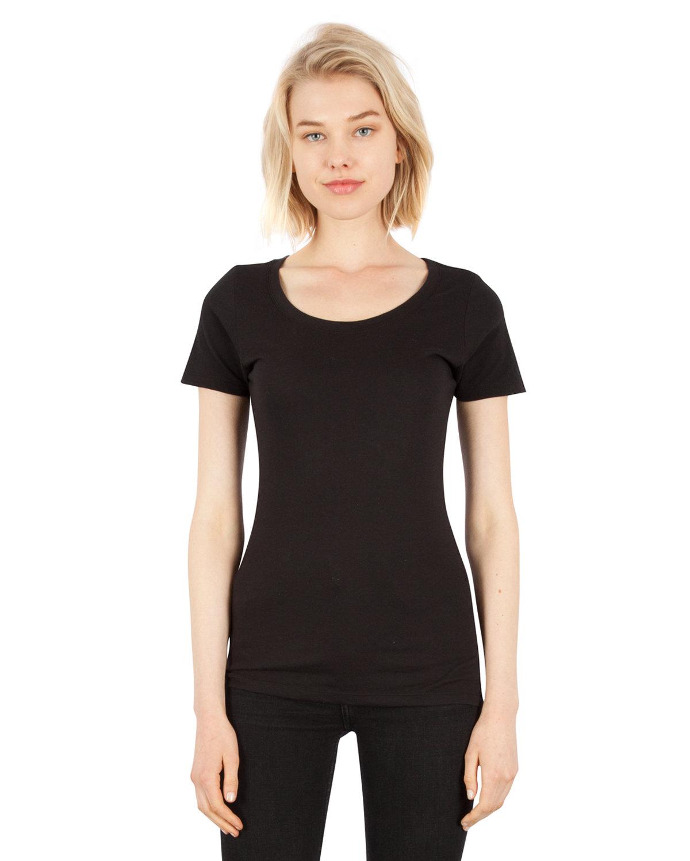 Simplex Apparel Drop Ship Ladies' CVC Scoop T-Shirt BLACK