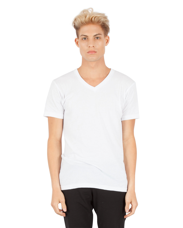 Simplex Apparel Drop Ship Men's CVC V-Neck T-Shirt WHITE