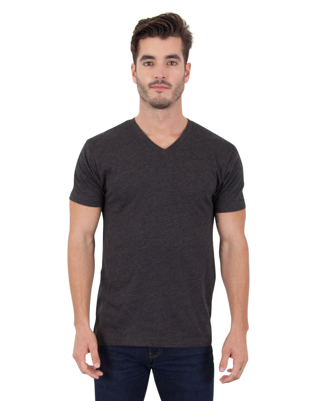 Simplex Apparel Drop Ship Men's CVC V-Neck T-Shirt CHARCOAL BLACK