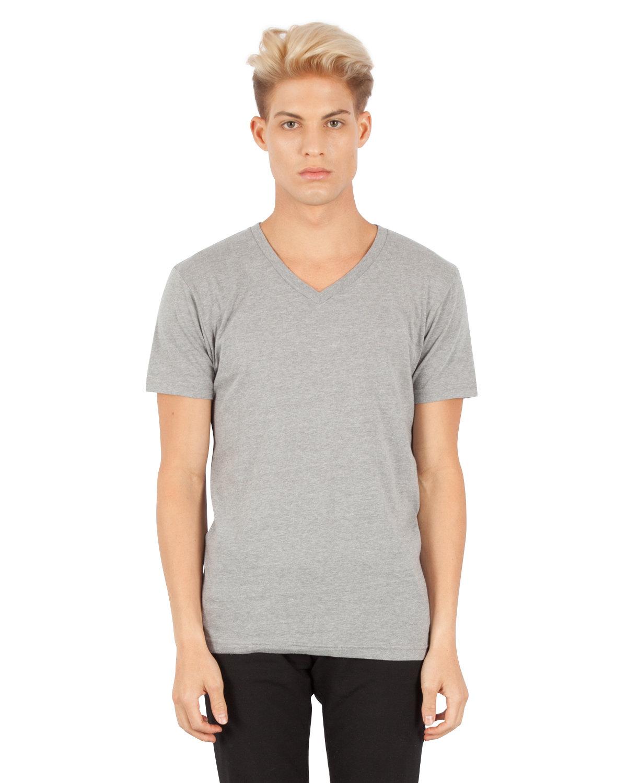 Simplex Apparel Drop Ship Men's CVC V-Neck T-Shirt DRK HTHR GREY