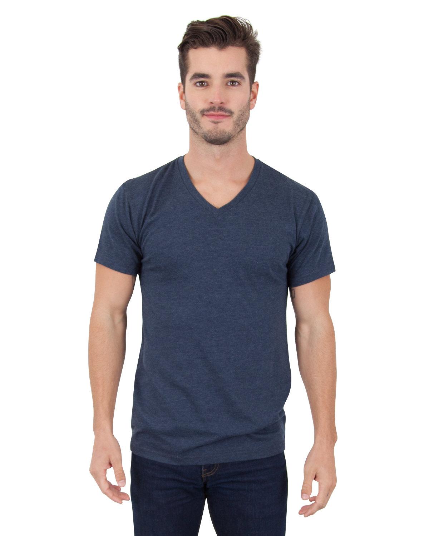Simplex Apparel Drop Ship Men's CVC V-Neck T-Shirt OBSIDIAN NAVY