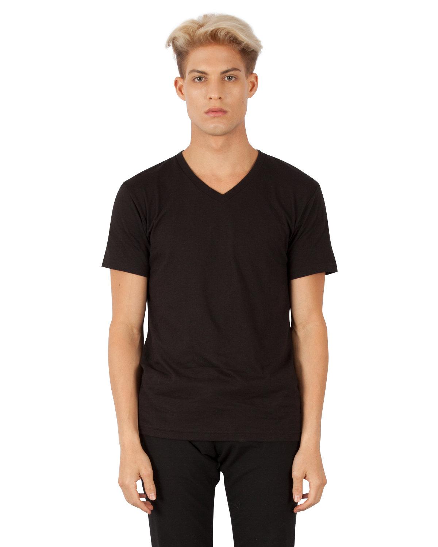 Simplex Apparel Drop Ship Men's CVC V-Neck T-Shirt BLACK