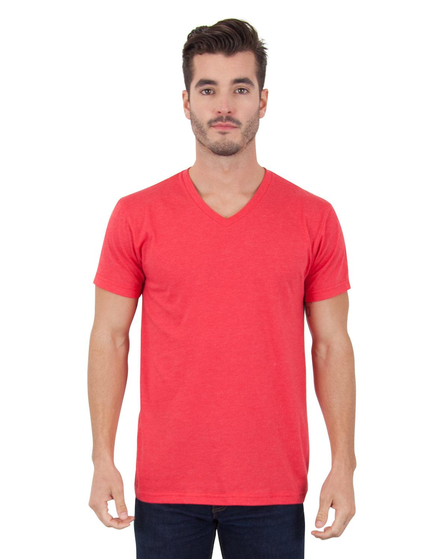 Simplex Apparel Drop Ship Men's CVC V-Neck T-Shirt RED