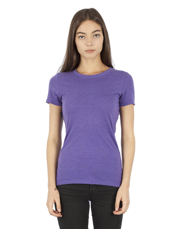 Simplex Apparel Drop Ship Ladies' 4.6 oz. Tri-Blend T-Shirt CRIMSON PURPLE