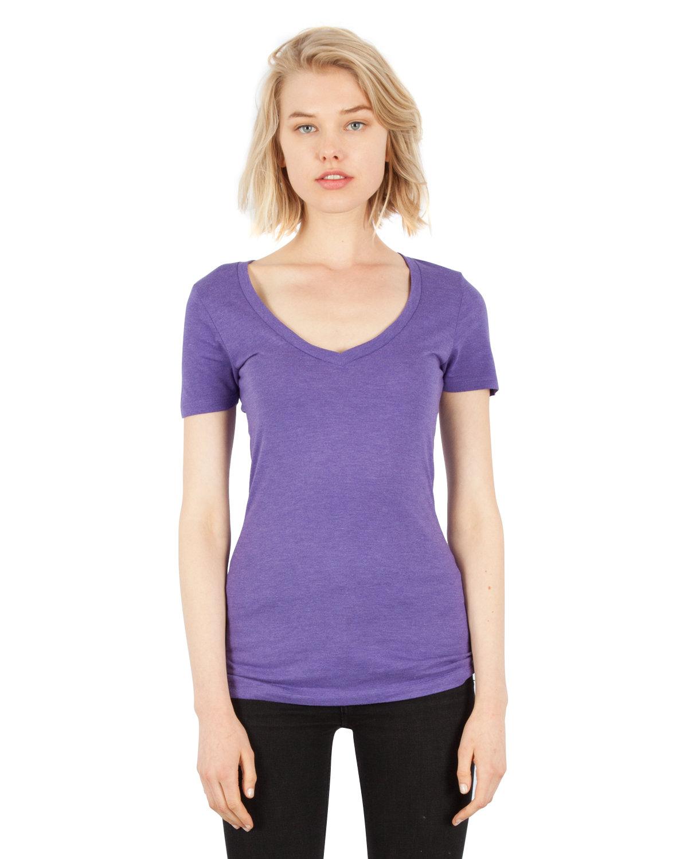Simplex Apparel Drop Ship Ladies' 4.6 oz. Tri-Blend Deep V-Neck T-Shirt CRIMSON PURPLE