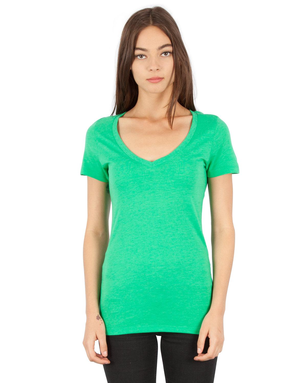 Simplex Apparel Drop Ship Ladies' 4.6 oz. Tri-Blend Deep V-Neck T-Shirt LUSH GREEN