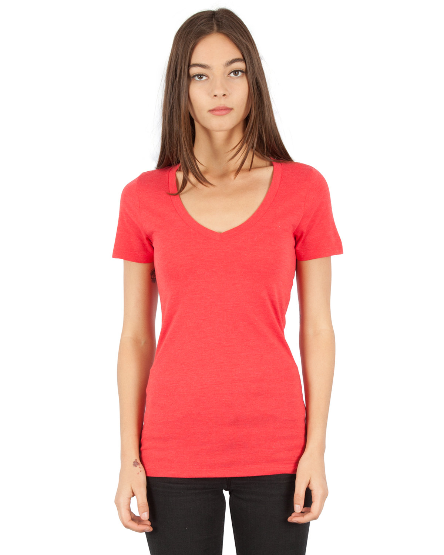 Simplex Apparel Drop Ship Ladies' 4.6 oz. Tri-Blend Deep V-Neck T-Shirt RUBY RED