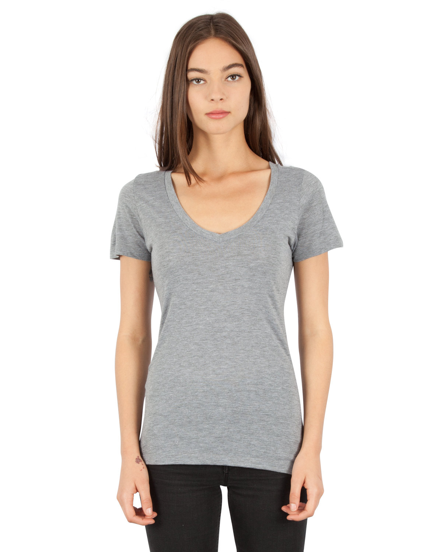 Simplex Apparel Drop Ship Ladies' 4.6 oz. Tri-Blend Deep V-Neck T-Shirt HEATHER GREY