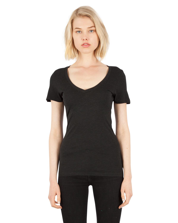 Simplex Apparel Drop Ship Ladies' 4.6 oz. Tri-Blend Deep V-Neck T-Shirt VINTAGE BLACK