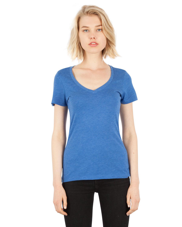 Simplex Apparel Drop Ship Ladies' 4.6 oz. Tri-Blend Deep V-Neck T-Shirt ROYAL