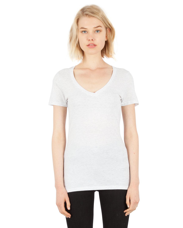 Simplex Apparel Drop Ship Ladies' 4.6 oz. Tri-Blend Deep V-Neck T-Shirt SPECKLED WHITE
