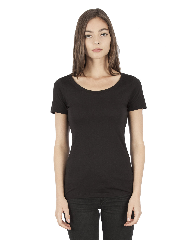 Simplex Apparel Drop Ship Ladies' 4.6 oz. Modal Scoop Neck T-Shirt BLACK