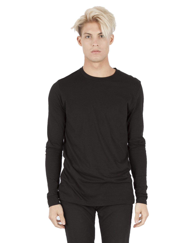 Simplex Apparel Drop Ship Unisex 4.6 oz. Modal Long-Sleeve T-Shirt BLACK
