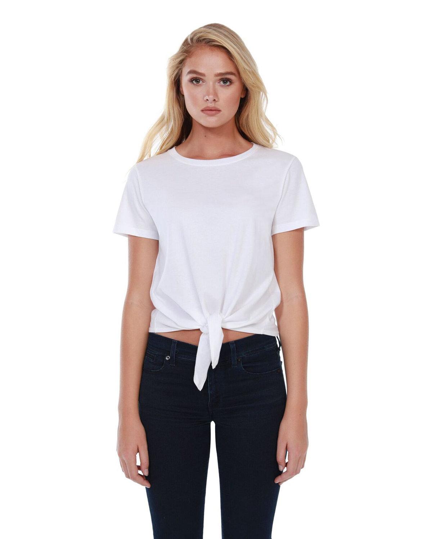 StarTee Drop Ship Ladies' Cotton Tie Front T-Shirt WHITE