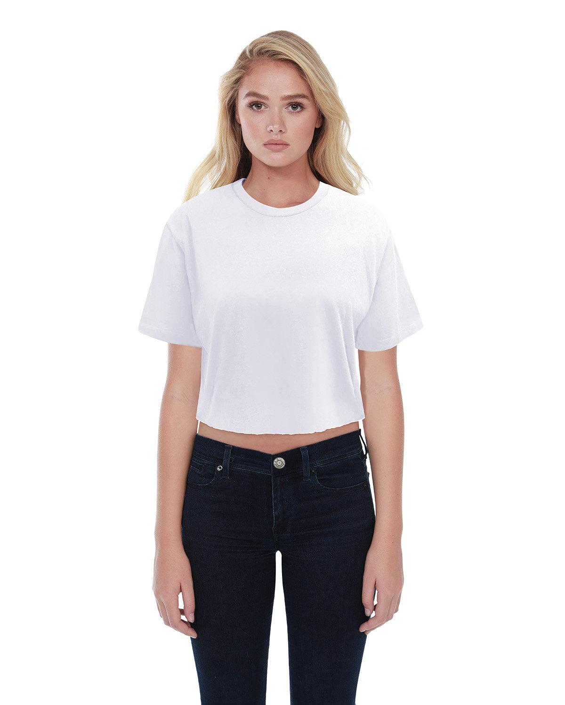 StarTee Drop Ship Ladies' Boyfriend Crop T-Shirt WHITE