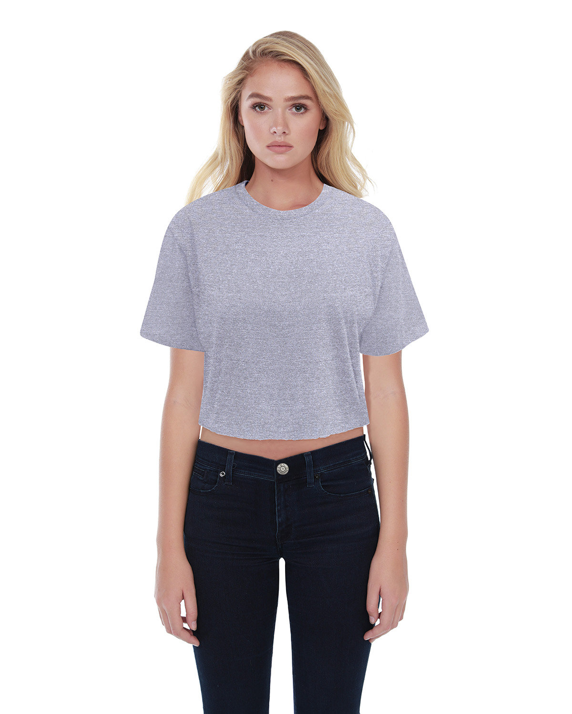 StarTee Drop Ship Ladies' Boyfriend Crop T-Shirt HEATHER GREY