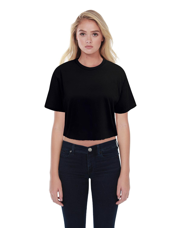StarTee Drop Ship Ladies' Boyfriend Crop T-Shirt BLACK