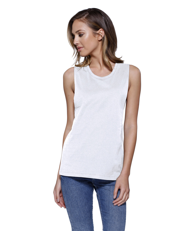 StarTee Drop Ship Ladies' Cotton Muscle T-Shirt WHITE