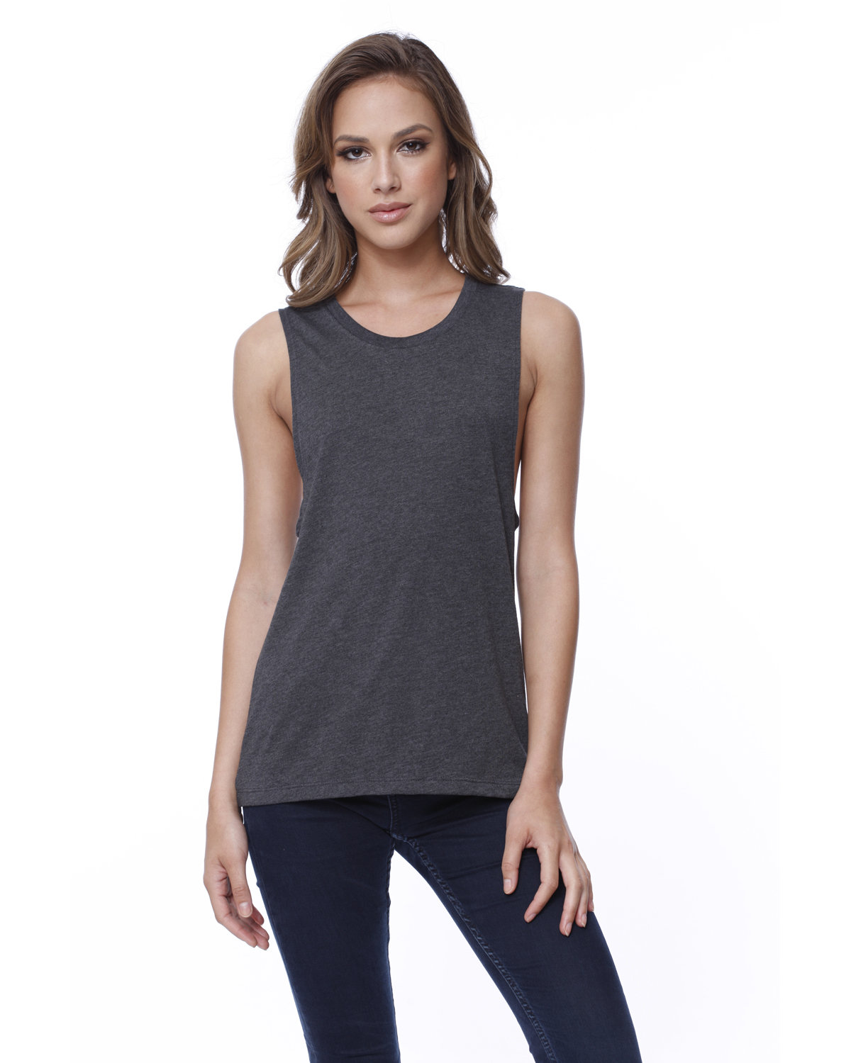 StarTee Drop Ship Ladies' Cotton Muscle T-Shirt CHARCOAL HEATHER