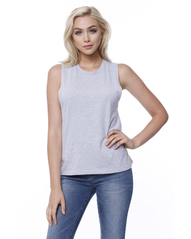StarTee Drop Ship Ladies' Cotton Muscle T-Shirt HEATHER GREY