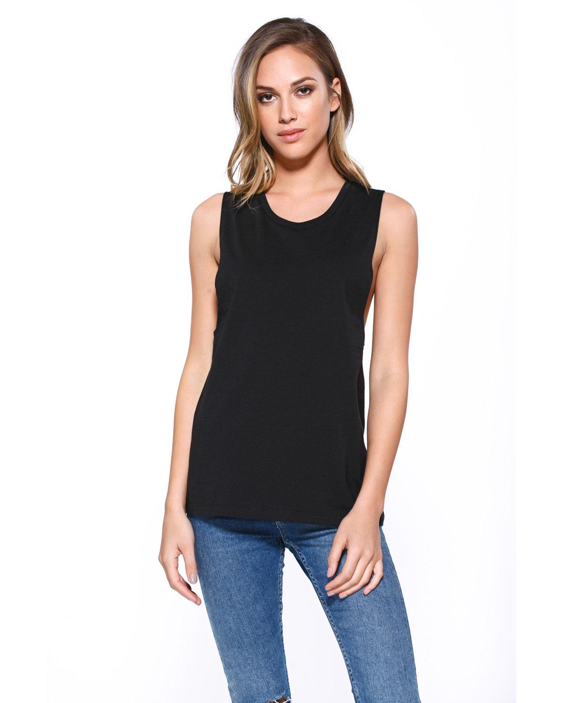 StarTee Drop Ship Ladies' Cotton Muscle T-Shirt BLACK