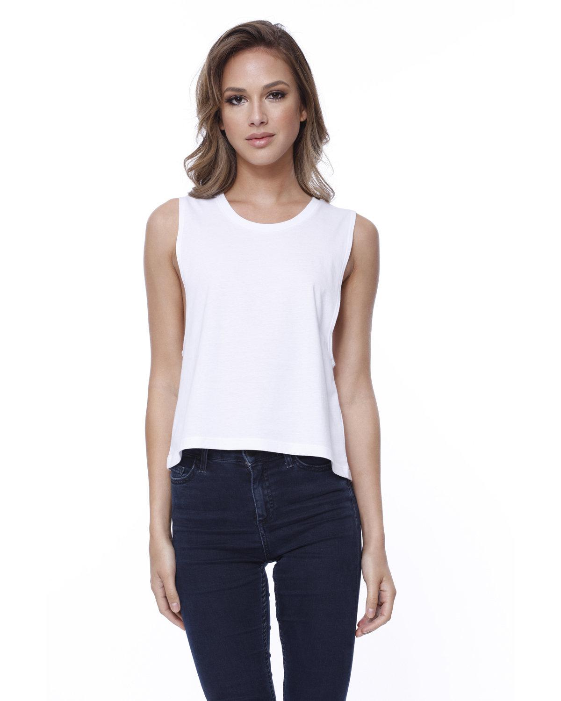 StarTee Drop Ship Ladies' Cotton Muscle Crop T-Shirt WHITE