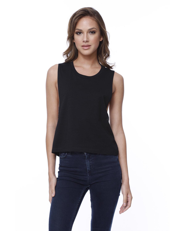 StarTee Drop Ship Ladies' Cotton Muscle Crop T-Shirt BLACK