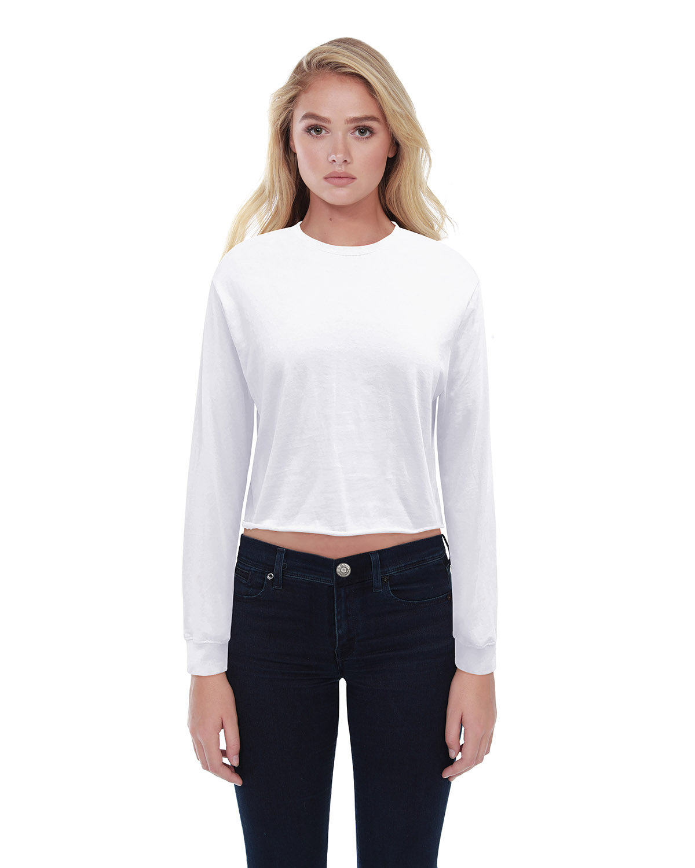 StarTee Drop Ship Ladies' Boyfriend Long Sleeve Crop T-Shirt WHITE
