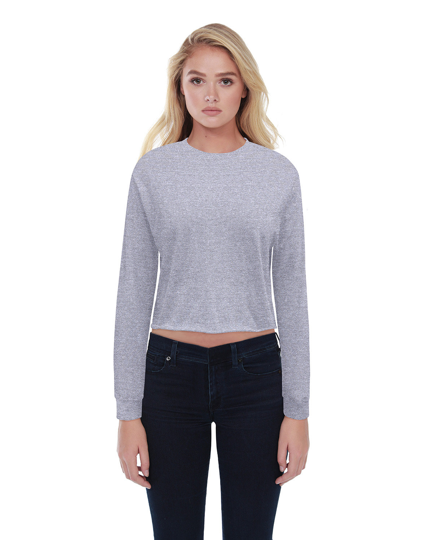 StarTee Drop Ship Ladies' Boyfriend Long Sleeve Crop T-Shirt HEATHER GREY