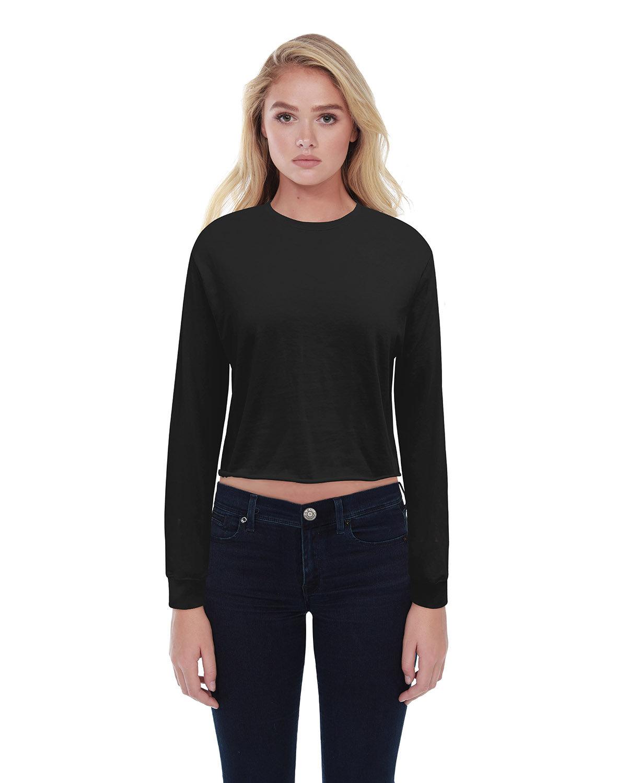StarTee Drop Ship Ladies' Boyfriend Long Sleeve Crop T-Shirt BLACK