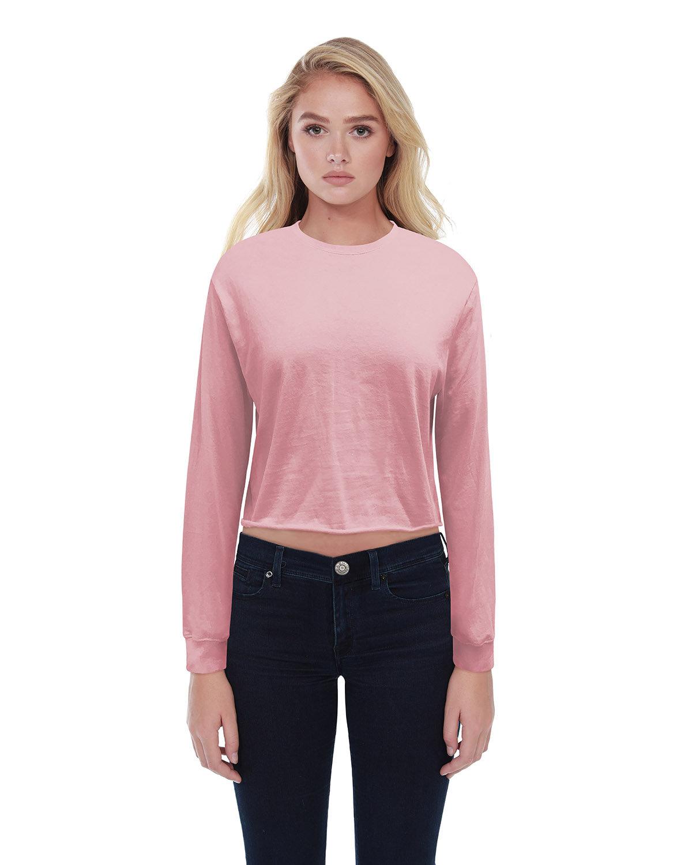 StarTee Drop Ship Ladies' Boyfriend Long Sleeve Crop T-Shirt DUSTY PINK