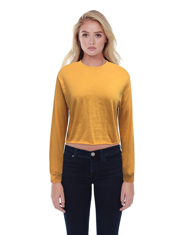 StarTee Drop Ship Ladies' Boyfriend Long Sleeve Crop T-Shirt MUSTARD