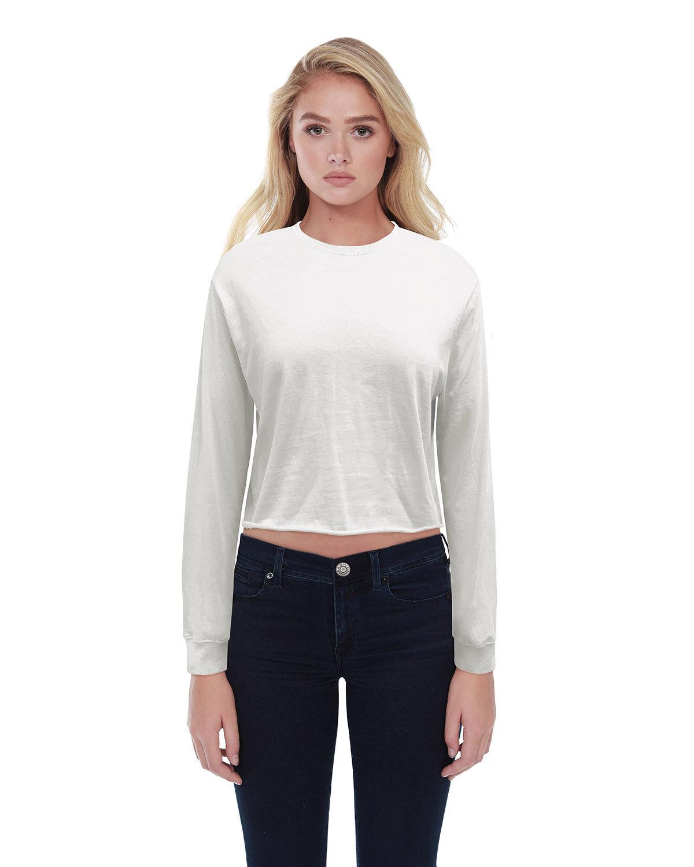 StarTee Drop Ship Ladies' Boyfriend Long Sleeve Crop T-Shirt OFF WHITE