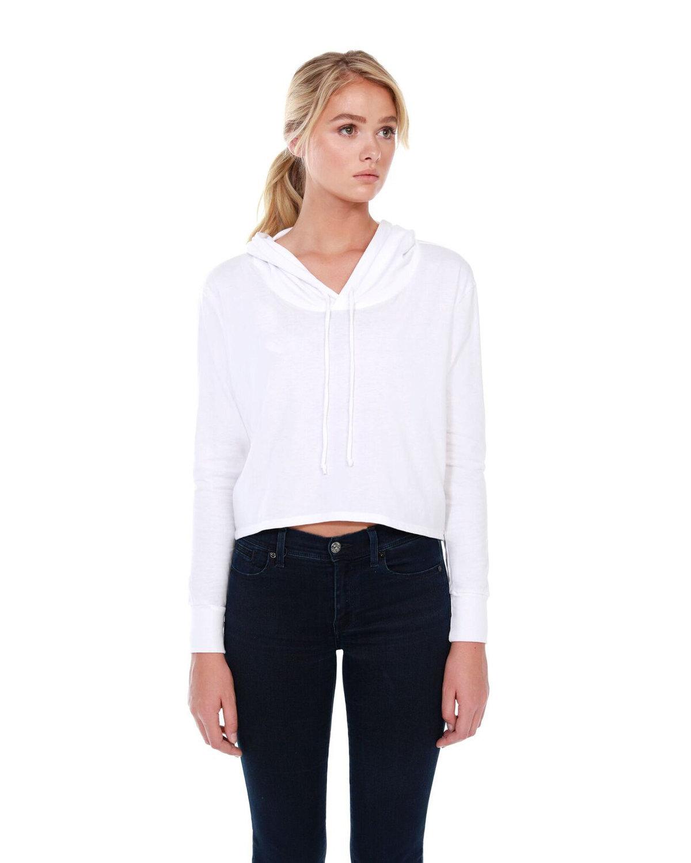 StarTee Drop Ship Ladies' 4.3 oz., CVC Cropped Hoodie T-Shirt WHITE