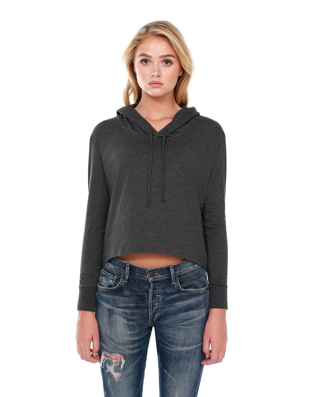 StarTee Drop Ship Ladies' 4.3 oz., CVC Cropped Hoodie T-Shirt CHARCOAL HEATHER