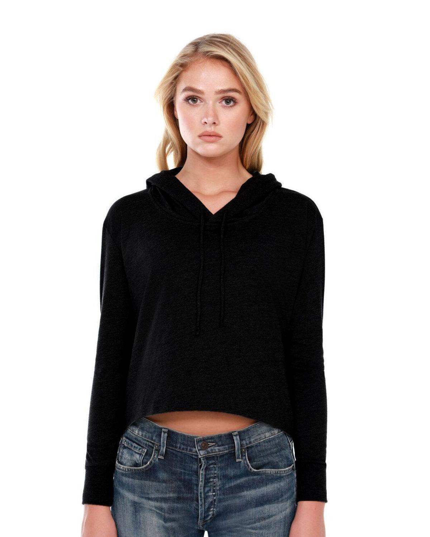StarTee Drop Ship Ladies' 4.3 oz., CVC Cropped Hoodie T-Shirt BLACK