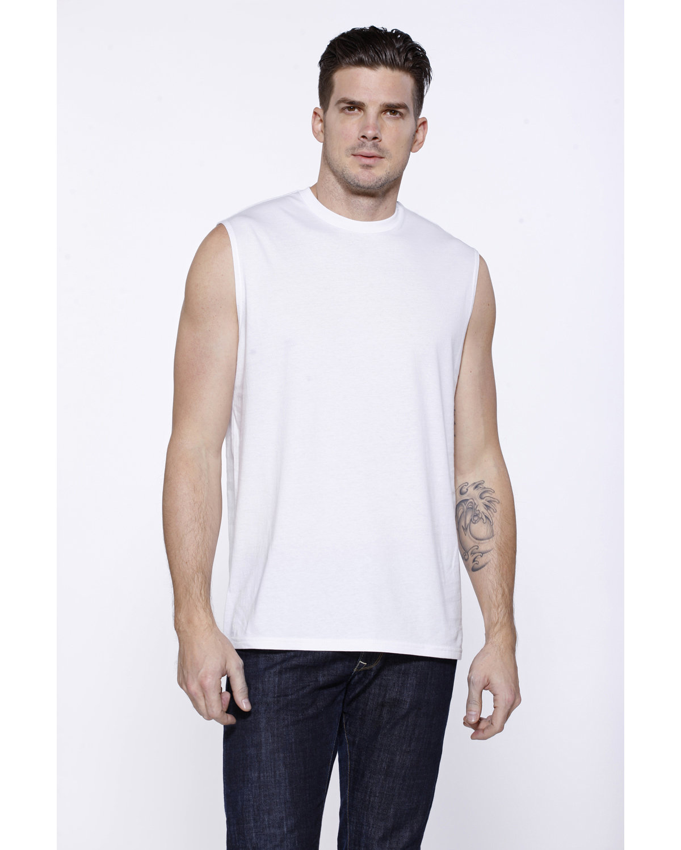 StarTee Drop Ship Men's Cotton Muscle T-Shirt WHITE