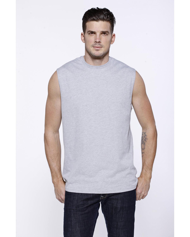 StarTee Drop Ship Men's Cotton Muscle T-Shirt HEATHER GREY