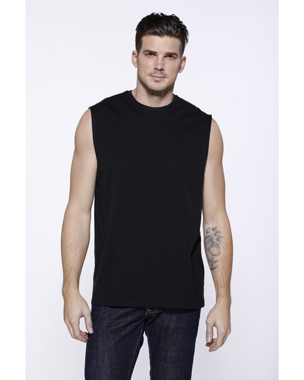 StarTee Drop Ship Men's Cotton Muscle T-Shirt BLACK