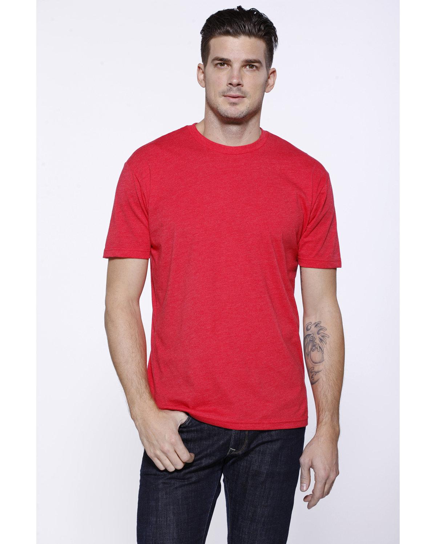 StarTee Drop Ship Men's CVC Crew Neck T-shirt RED HEATHER