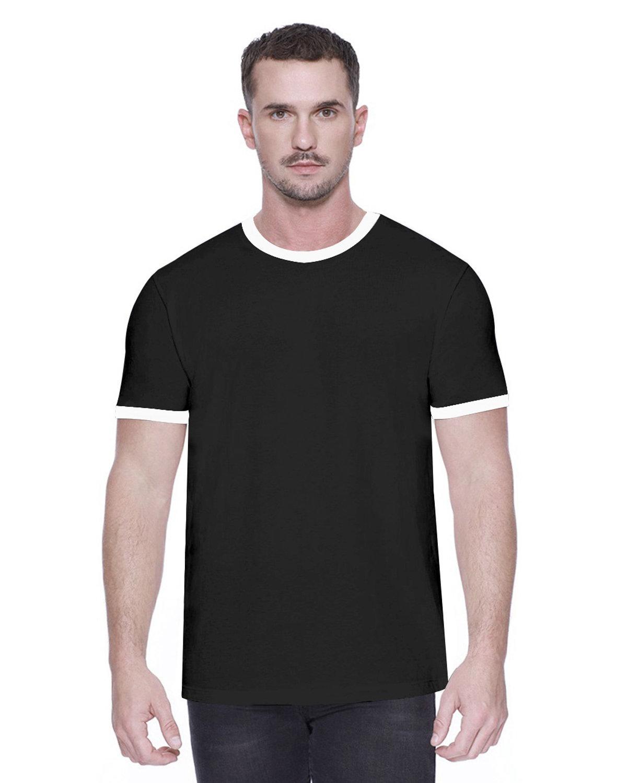 StarTee Drop Ship Men's CVC Ringer T-Shirt BLACK/ WHITE