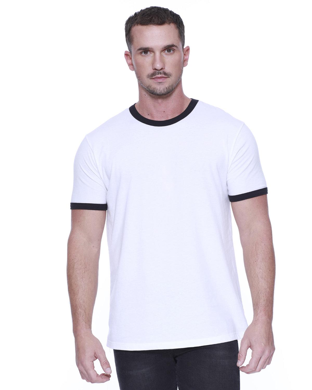 StarTee Drop Ship Men's CVC Ringer T-Shirt WHITE/ BLACK