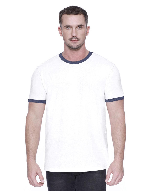 StarTee Drop Ship Men's CVC Ringer T-Shirt WHITE/ NAVY HTHR
