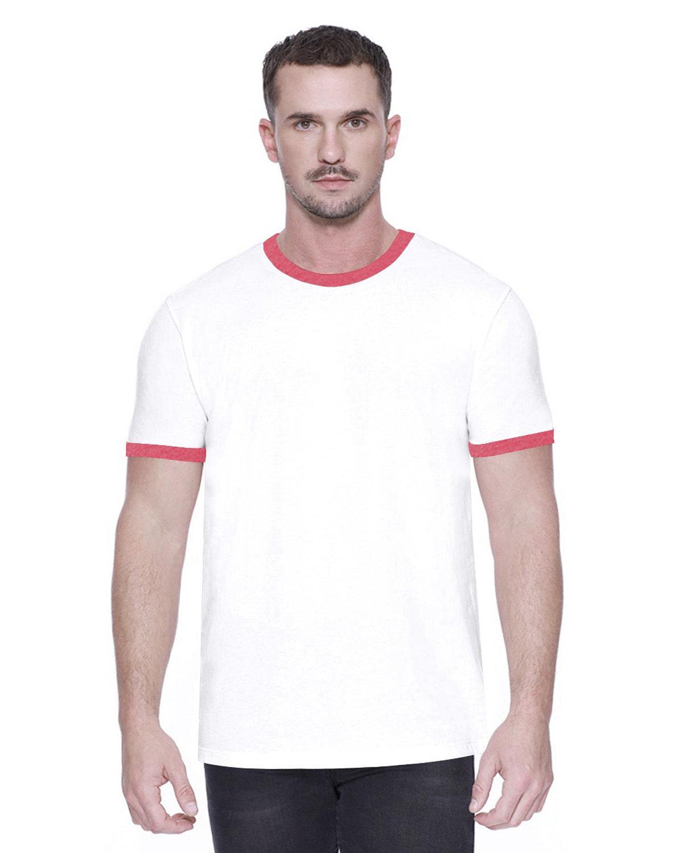 StarTee Drop Ship Men's CVC Ringer T-Shirt WHITE/ RED HTHR
