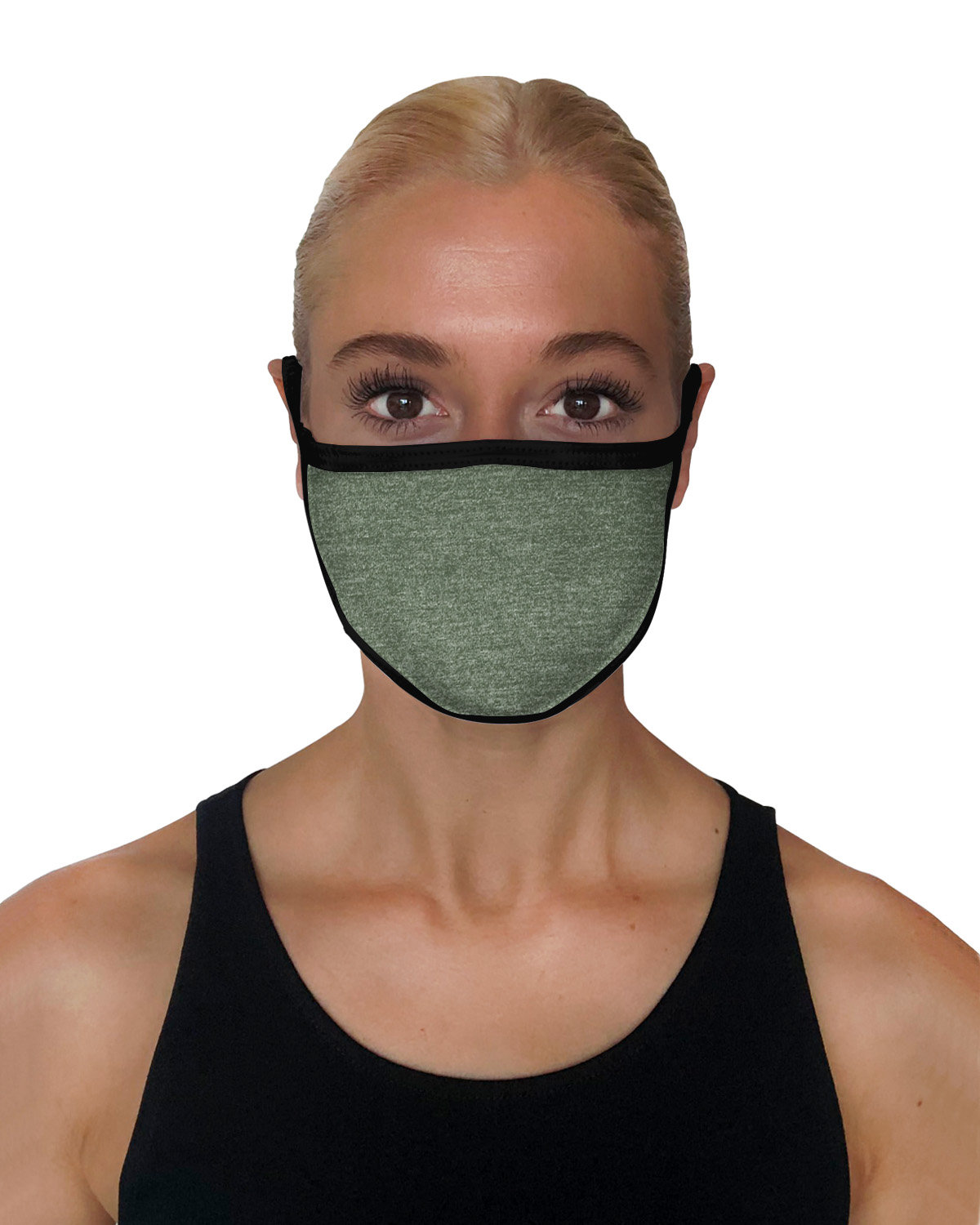 StarTee Drop Ship Unisex 2-Layer Cotton Face Mask MLTRY GREEN/ BLK