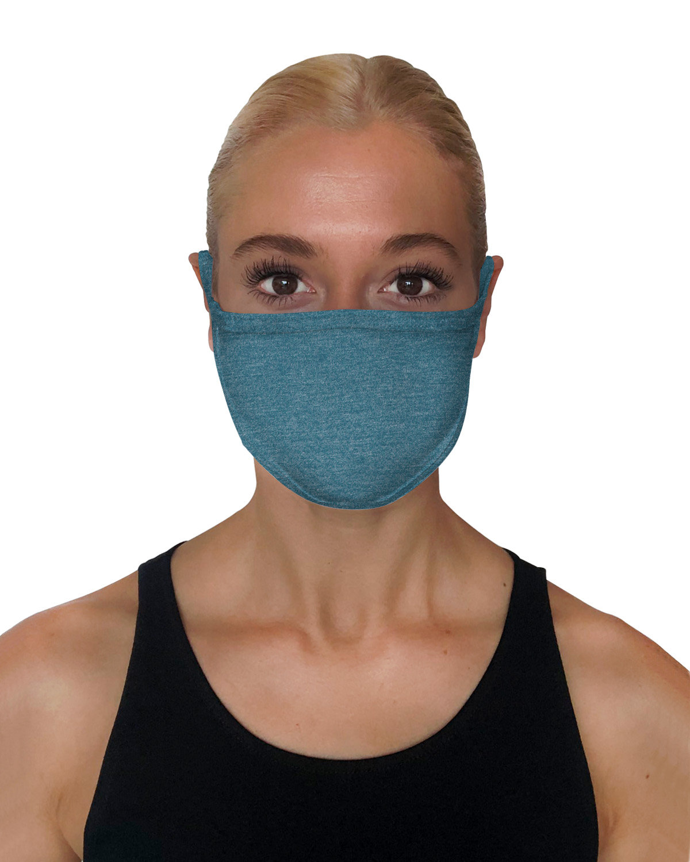 StarTee Drop Ship Unisex 2-Layer Cotton Face Mask STEEL BLUE HTHR